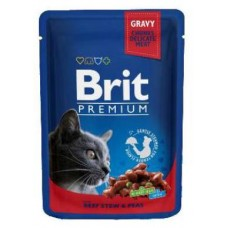Brit Premium Cat Pouches with Beef Stew & Peas Мясное рагу из говядины и горошка.(100гр) Чехия